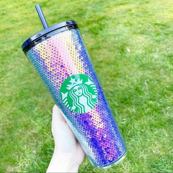 Starbucks Sequin Navy Purple Iridescent Tumbler